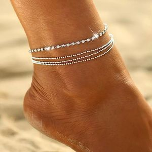 ⚜️[𝟯/$𝟮𝟴]⚜️4 Layered Crystal Silver Anklet NEW